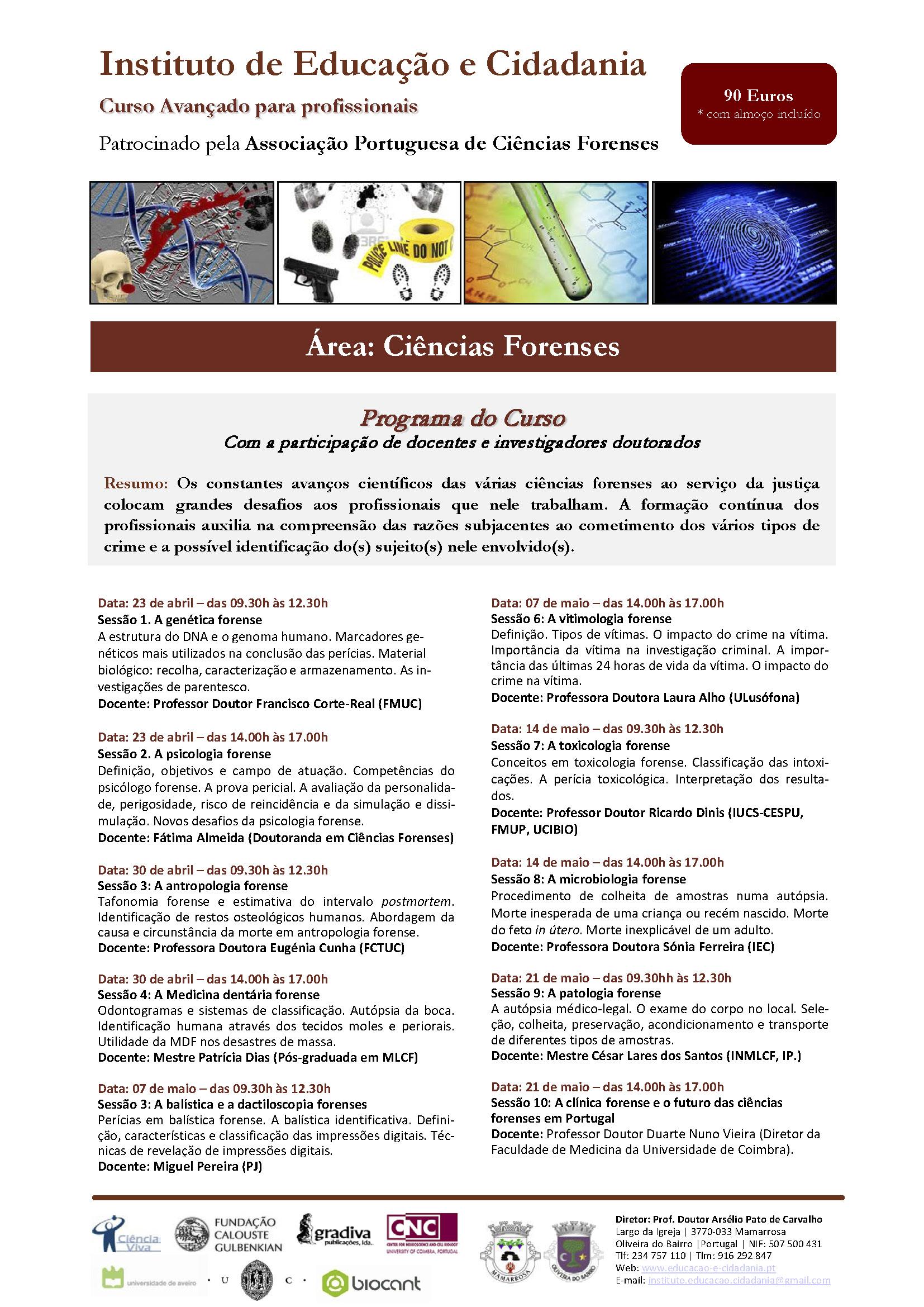 Programa do Curso Avançado de Ciências Forenses